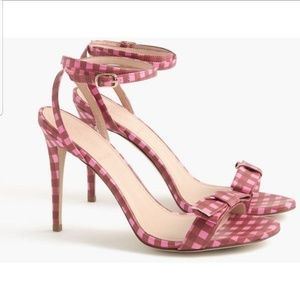 JCrew leather gingham sandal with bow
